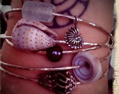 Set of 3 Sterling Silver Beach Bangles with Shells or Pearls