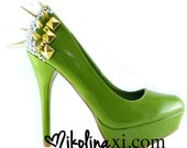 "50% OFF SALE Green Patent Leather Pumps with Studs Crystals and Spikes - ""Julia"""