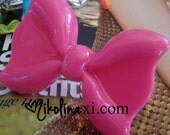 Large Neon Pink Resin Kawaii Bow Ring