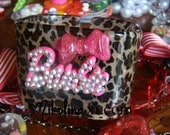Lucite Leopard Print Square Crystal Barbie Bangle with Bow