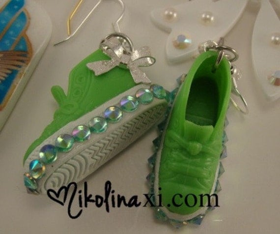 Green Sneaker Barbie Shoes with Crystals and Silver Bow Dangle Hook Earrings