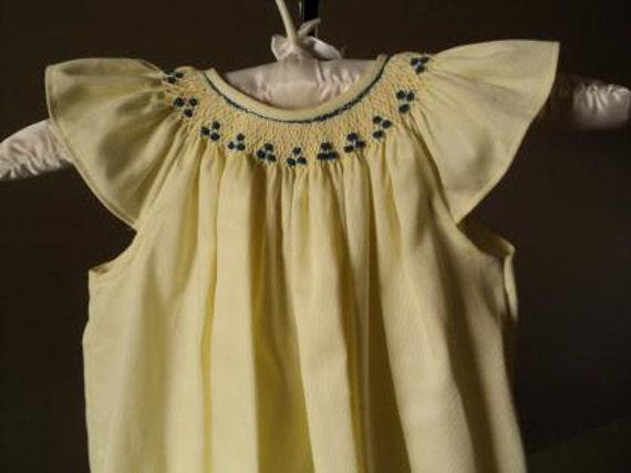 Hand Smocked Toddler's Bishop Dress - Size 12 Months