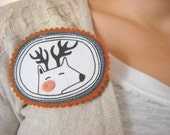 the trophy deer screen printed brooch