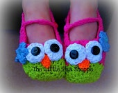 Crochet Owl Slippers- All Sizes- Baby- Gift- Women's- Girl's- Costume