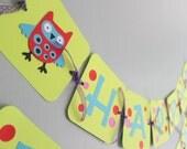 Owl Birthday Banner, Bright Owls