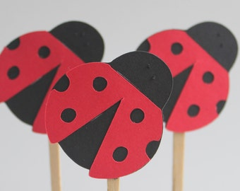 Lady Bug Cupcake Toppers, ladybug party, ladybug baby shower decoration, ladybug baby shower, ladybug birthday