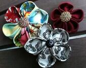3 mixed patterns-asian butterfly cranberry flower hair clips-matilda jane coordinates