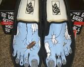 CUSTOM ORDER for TIFFANIE - Handpainted Blue Zombie Feet Shoes