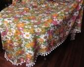 Vintage Woven Mod Bedspread in Hot Pink, Electric Orange, Avocado Green