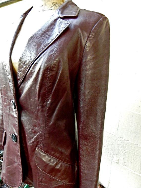 vintage deep brown size 12 leather jacket