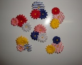 SALE Patriotic Americana Flower Magnets Set of 6 (2)