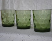 Retro Green Juice Glasses with Circles Set of 3