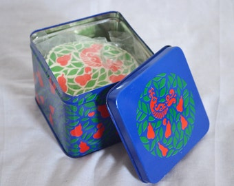 Retro 1985 Interpur Containers and Coasters Tin Set with Red, Blue, and Green Bird, Leaves, and Pears Design