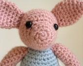 Amigurumi Classic Piglet - Handmade Crochet Winnie the Pooh Character Plush - MADE TO ORDER