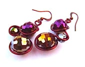 Wire wrapped earrings with fire polished purple amber and  crystals, non-tarnish antique antique copper wire and french earwires.
