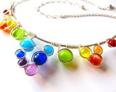 Wire Wrapped Necklace - Rainbow Cats Eye Beads Silver Wire and Adjustable Matching Chain