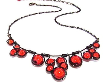"Wire Wrapped Necklace and matching earrings - Red ""Miracle Beads"" with adjustable chain."