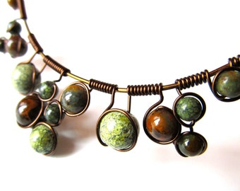 Wire Wrapped Necklace  - green and brown Jasper stone beads (earrings sold separately)