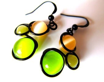 Lime Green, Cantaloupe and Mocha Cat's Eye Earrings Wrapped with Black Craft Wire