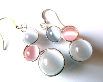 Pale Pink, White and Light Grey Cat's Eye Earrings Wrapped with Silver Craft Wire