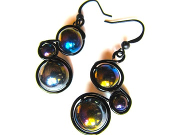 Wire wrapped earrings with black fire polished glass beads,black wire and french ear wires