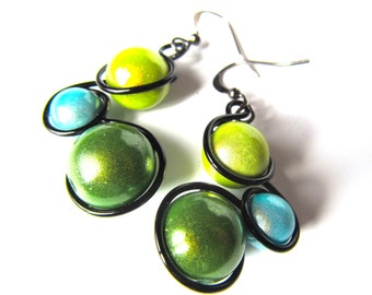 Turquoise, Green and Black Wire Wrapped Earrings, Turquoise, lime and green Miracle Beads, black wire and french ear wires