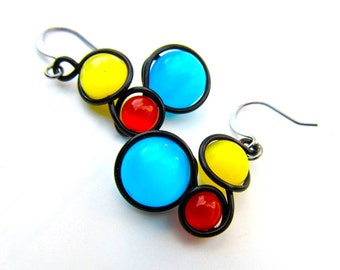Rainbow Cat Eye Bead Earrings Wrapped with Black Craft Wire
