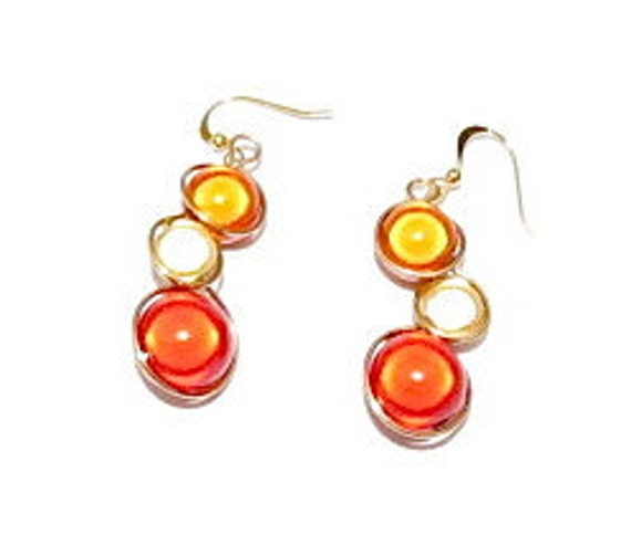Fall Colors, wire wrapped earrings with red, orange and gold miracle beads, light copper wire and french ear wires.