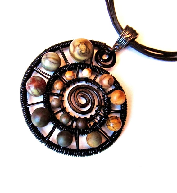 Red Creek Jasper and Black Wire Wrapped Spiral Pendant, black wire and adjustable leather cord