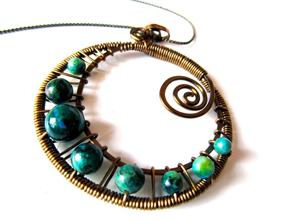 Azurite Chrysocolla and Antique Bronze Wire Wrapped Spiral Pendant with matching adjustable bronze chain