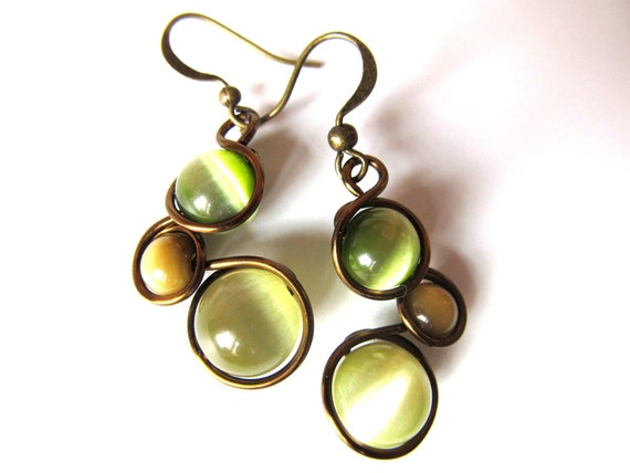Khaki, Moss Green and Mocha Cat's Eye Earrings Wrapped with Antique Bronze Craft Wire