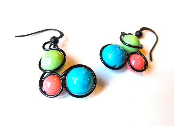 Apple Green, Turquoise, Peach Howlite Bead Earrings Wrapped with Black Craft Wire