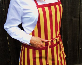 red and antique gold barista apron