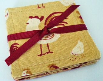 red and gold chicken cloth coasters set of 4