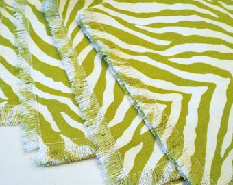 cloth coasters green & cream zebra stripe set of 4