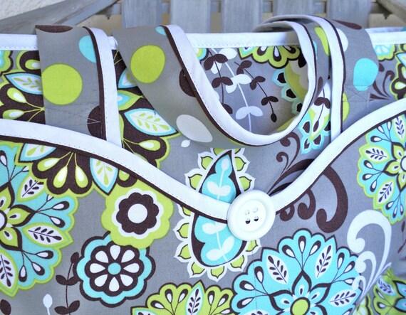 Sale - gray with brown & aqua tote or diaper bag