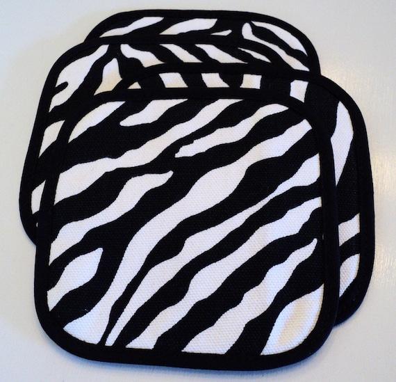 zebra print cloth coasters set of 4