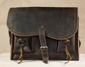 Travel Bag 001 - Mocha Brown Leather Messenger Bag  - LARGE