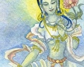 Green Tara: Embellished Open Edition Meditation Art ACEO