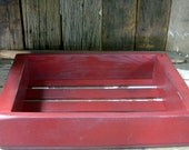 Decorative Vintage Style Storage Crate from Reclaimed Wood / Rustic Distressed Rusty Red