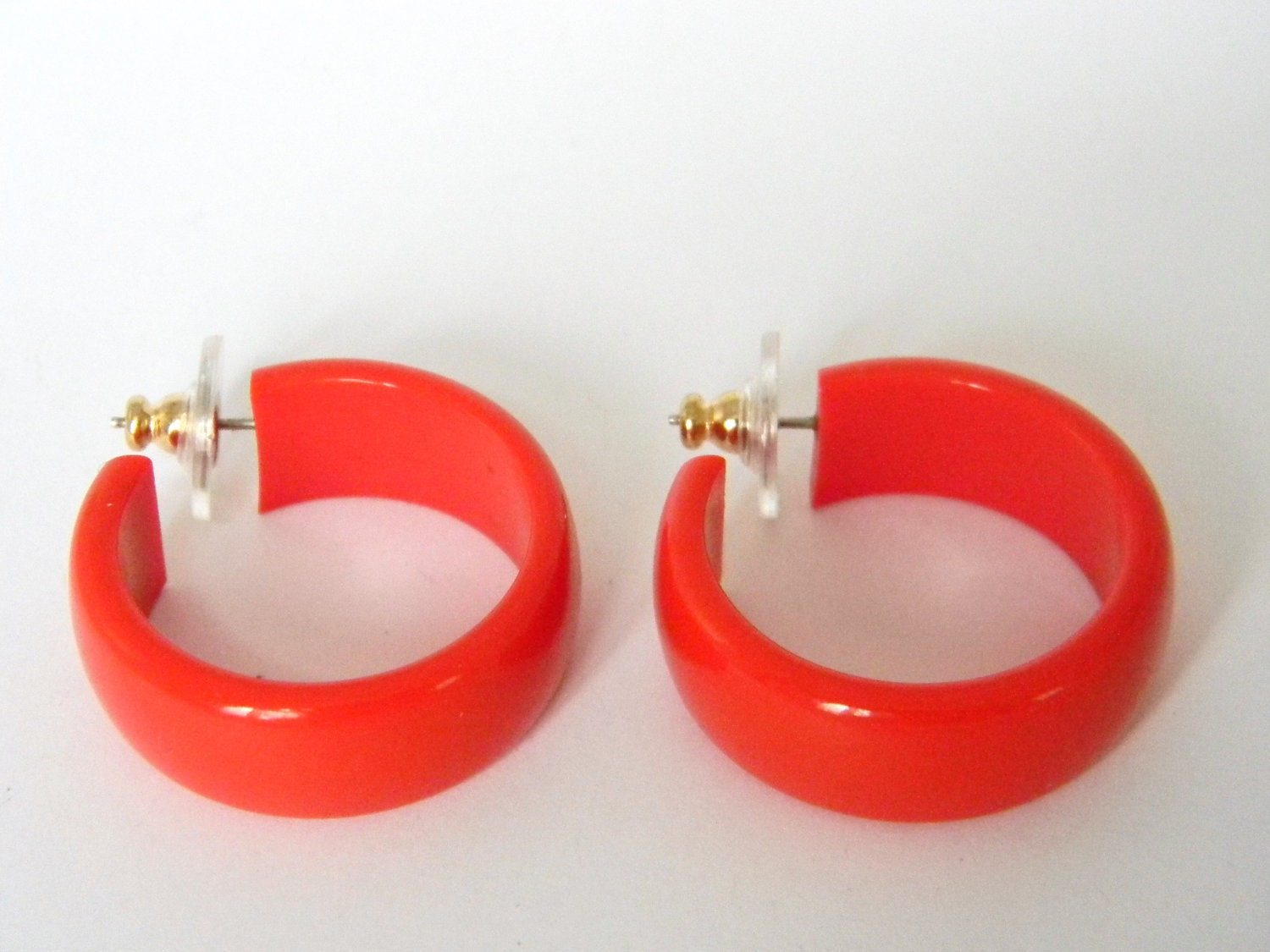 Vintage Red Plastic Hoop Earrings By Nikkisfinds On