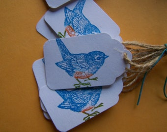 Blue bird  Natural Jute Twine Tag - Set of 10 - Wedding bird seed favors, country weddings, parties