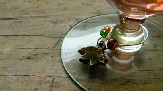 Wine charms - Set of 4 - Fern, leaves, acorn and sparrow