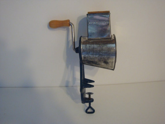 Vintage Crank Cheese Grater : Vintage blue rotary crank arm table cheese grater made in