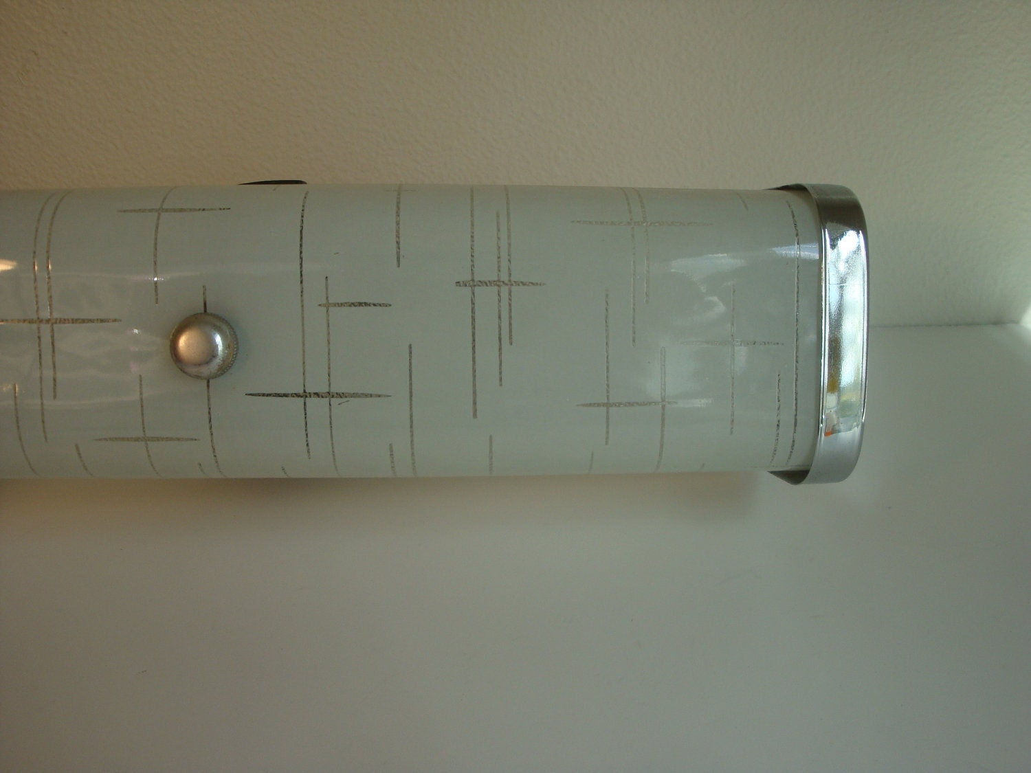 vintage mid century bathroom frosted vanity light fixture
