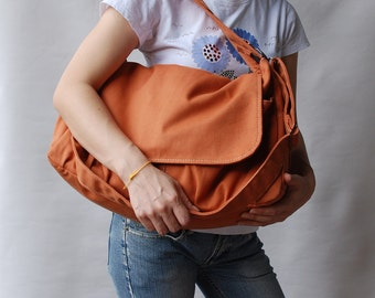 Pico in Pumpkin (Water Resistant) Messenger Bag / Tote / Diaper bag / Women / Laptop / Handbag/Diaper Bag/ School Bag/ Women /For Her/ Gift