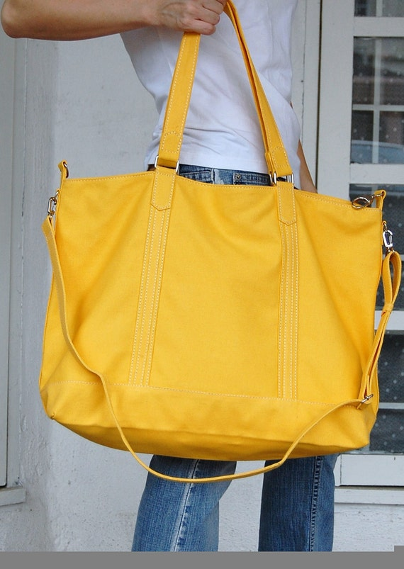 Halloween Sale - Kelly in Lemon Yellow, (Water Resistant Insulated) Tote / Shoulder / Messenger Bag