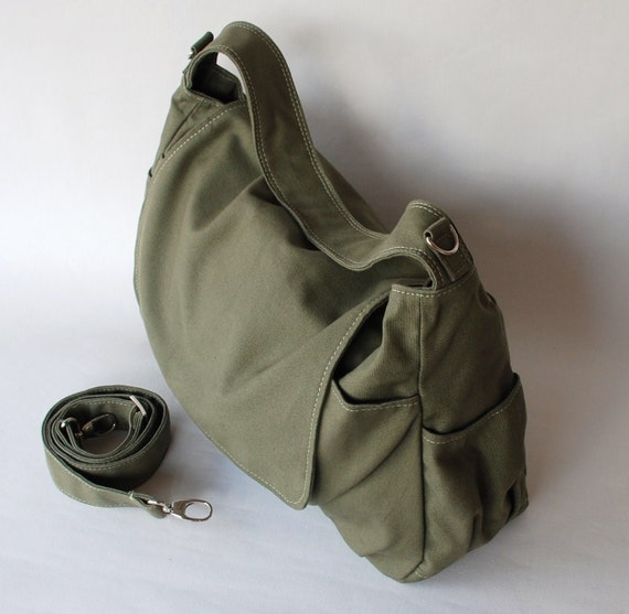 School Bag, 40%  New Year SALE - Dark Green, Shoulder Bag, Messenger Bag, Women, Canvas School bag, crossbody bag, Handbag