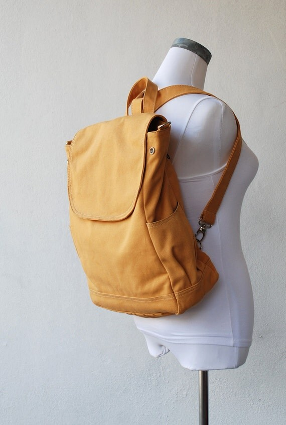 Fortuner Backpack Convertible in Mustard (Water Resistant) Laptop / Shoulder Bag/ Diaper Bag/ Satchel / Rucksack / Messenger Bag / Tote