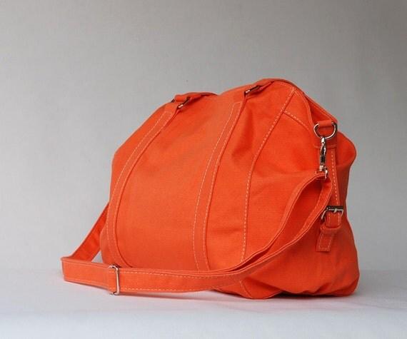 SALE 15% off - Tora in Orange (Water Resistant Insulated) Messenger / Shoulder Bag 140z Cotton